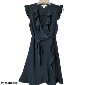 Monteau black wrap dress with ruffle detail size m